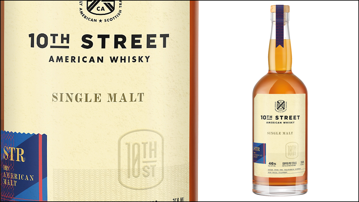 Close-up label and glass bottle shot of 10th Street Unpeated whiskey