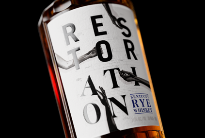 Restoration Rye glass bottle label