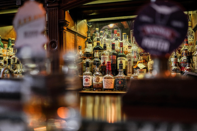 Whisky bottles on a bar